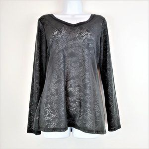 Lucy Burnout Top M Gray Long Sleeve V-Neck Sheer